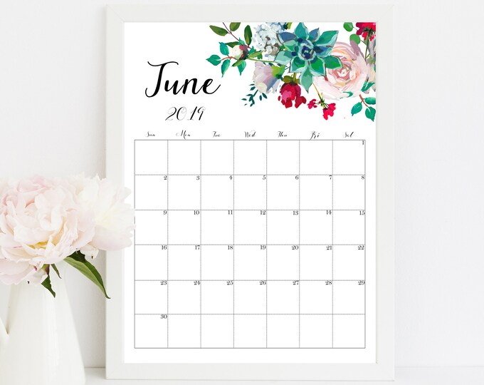 Wall Calendar 2019 Calendar Printable, succulent wall art, Botanical Calendar