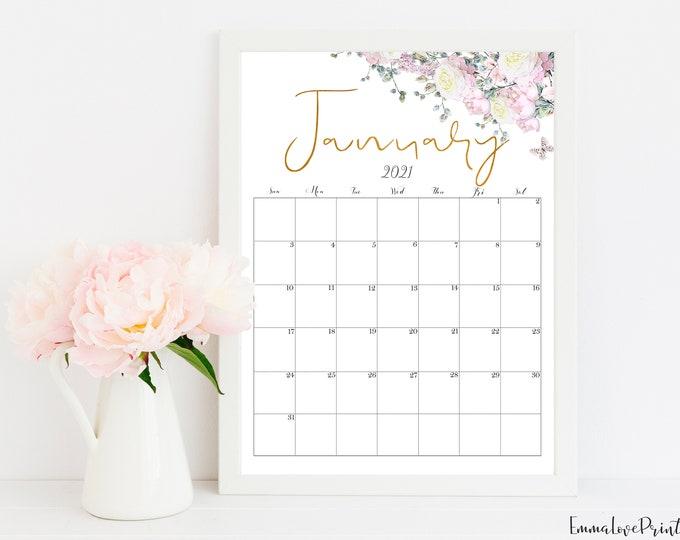 2021 Calendar, Printable Calendar, Botanical Calendar RG-1