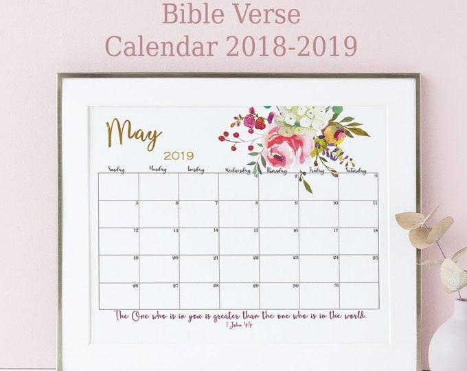 Wall Calendar 2019 Bible Verse Calendar Printable Scripture Wall Art Floral Watercolor Sunday Start Large Calendar SH-1