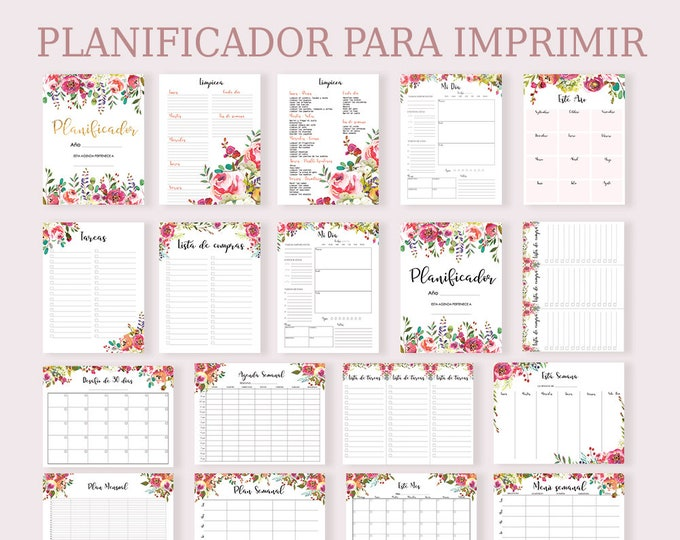 Life Planner Printable, Daily Planner Pages, Floral Planner 2019, Spanish Planner