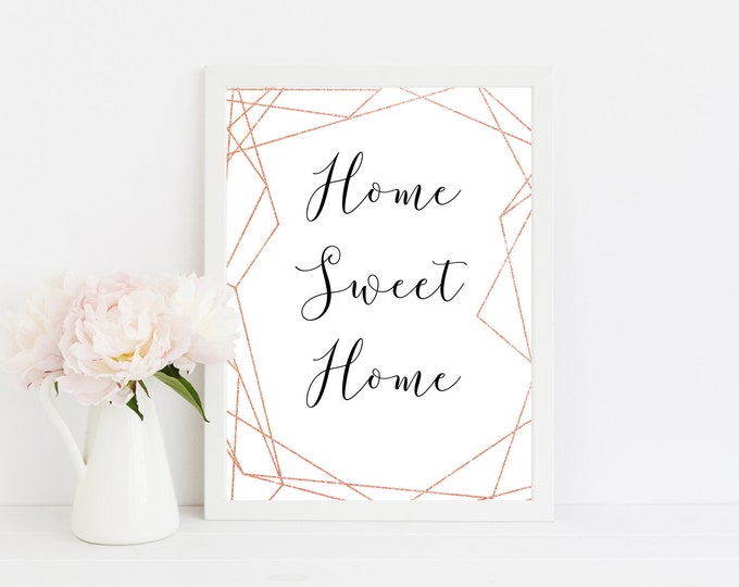Copper Wall Art Home Sweet Home Decor Rose Gold Decor Geometric Wall Art Housewarming Gift Bedroom Decor Scandinavian Print Printable Art
