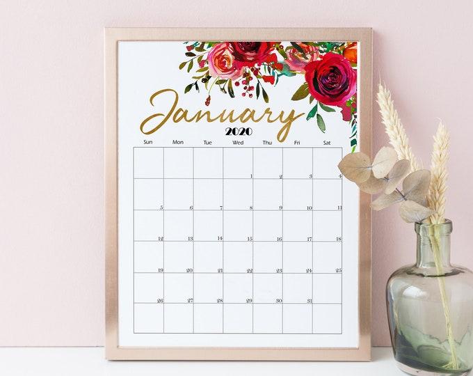 Printable Calendar 2020 Wall Calendar 2020 Desk Calendar, Floral Calendar, Beautiful Calendar