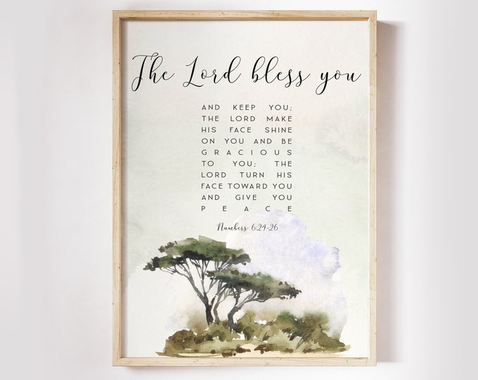 Bible Verse Prints, Numbers 6 24 26 The Lord bless you and keep you, Tree Art Print, Scripture Prints. SA-1