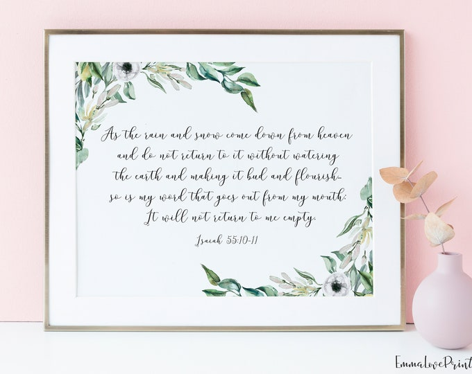 Bible Verse Prints, Isaiah 55 10, Olive Wreath, Scripture Prints OL-1