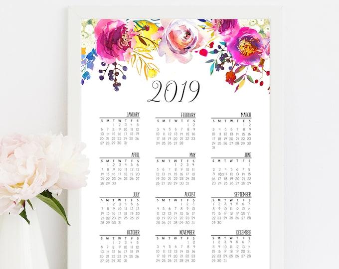 Wall Calendar 2019, Printable Calendar, Floral Calendar 2019 Calendar