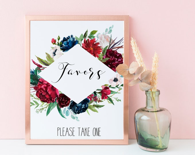 Wedding Favors Sign, Navy Wedding sign, Burgundy Wedding Printable,