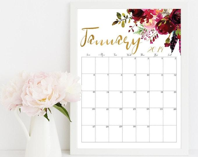 Floral Wall Calendar 2019 Printable Desk Calendar.