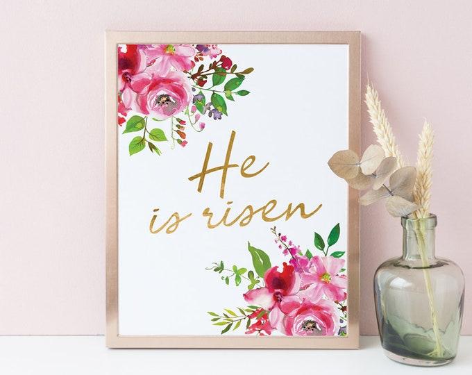 He Is Risen, Bible verse prints, Scripture prints, Christian Wall Art Printable SA-1