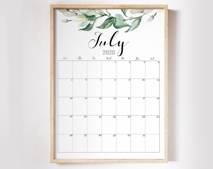 Botanical Calendar 2020, Watercolour Calendar 2020, Printable Wall Calendar 2020