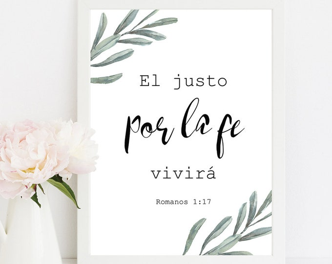 Bible Verse Wall Art Spanish Print Boyfriend gift Olive Vintage Dorm Wall Art Rustic Wall Decor The righteous shall live by faith OL-1