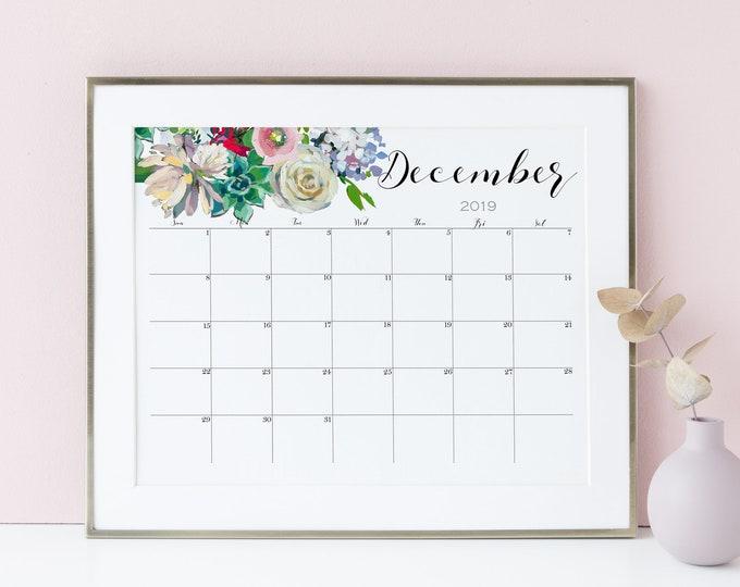 Large Wall Calendar 2019, Succulent Wall Art, Watercolor Calendar, desk calendar pad