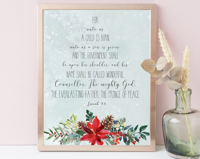 For unto us a child is born, Isaiah 9 6, Bible Verse Prints, christmas tree print
