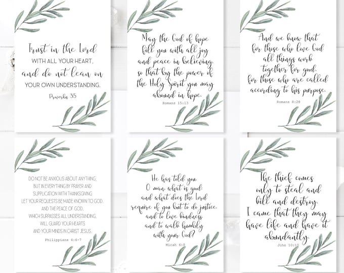 Bible Verse Cards, Bible journaling printable, Bible Verse Prints, Romans 8 28, Jeremiah 29 11 OL-1