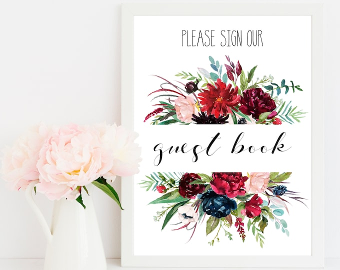 Guest book Sign, Navy Wedding sign, Burgundy Wedding Printable,
