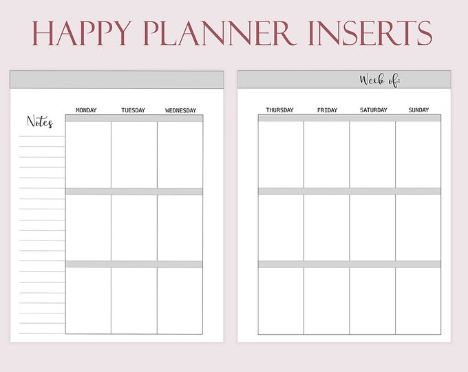 Happy Planner Inserts Printable Weekly Insert Weekly Planner 2020 Weekly Refills Weekly Planner Mambi Happy Planner Undated Instant Download