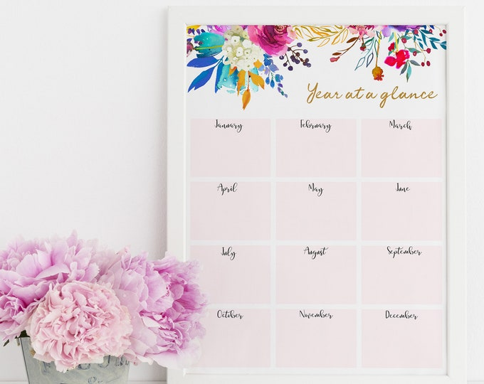 Yearly Calendar 2019 Calendar Big Happy Planner Insert, Letter Size Planner 2019