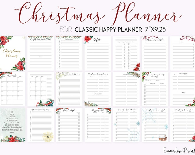 Christmas Planner Kit, Bible Verse Cards, made to fit Classic Happy Planner Inserts and Erin Condren Inserts