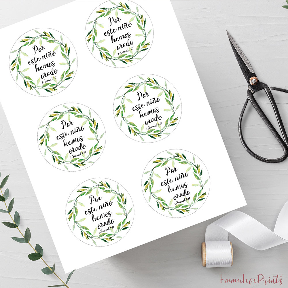 Baby Shower Favor Tags Round Favor Tags Printable Bible Favors Green