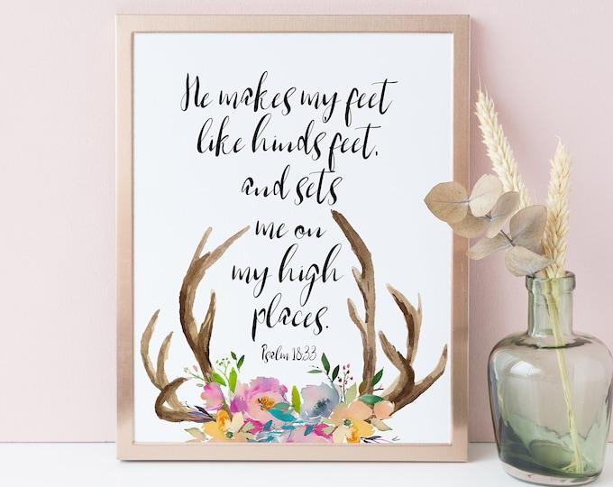 Deer antler wall decor, Bible verse prints, Scripture Wall Art, Psalm 18 33, He makes my feet like hinds feet,