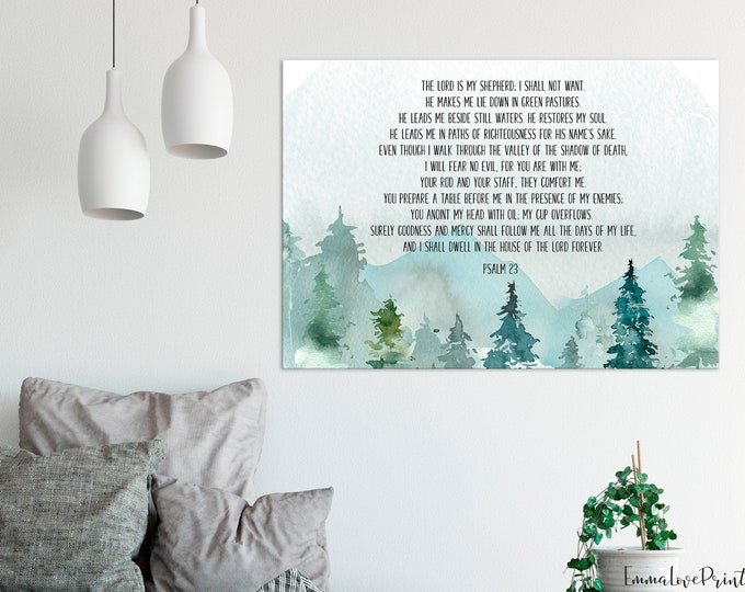 The Lord is my Shepherd, Scripture Prints, Bible Verse Prints, Psalm 23 Print, 23rd psalm