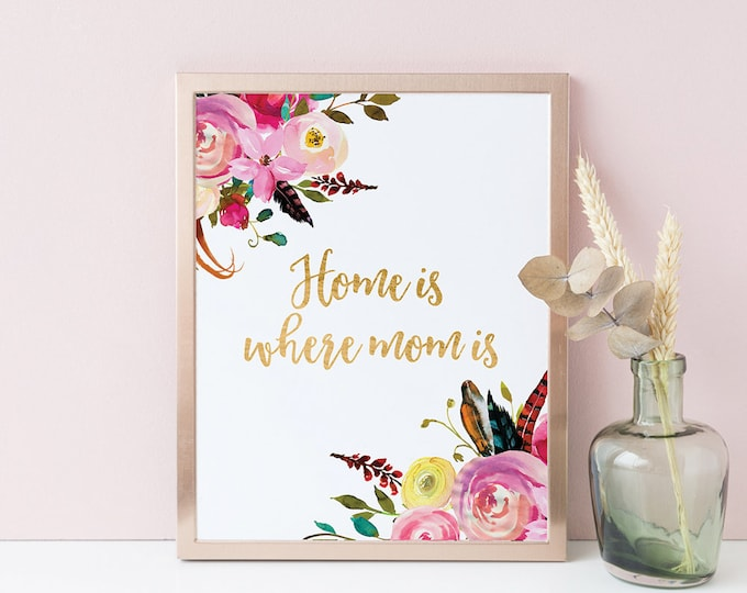 Home is Where Mom Is Printable Wall Decor Botanical Print Farmhouse Wall Decor Mother gift Flowers Wall Art Print FF-1