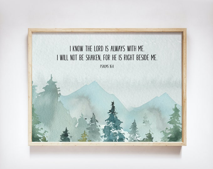 Bible Verse Prints, Psalm 16 8, Large bible Verse Wall Art, I keep my eyes always on the Lord, Scripture Prints nlt version