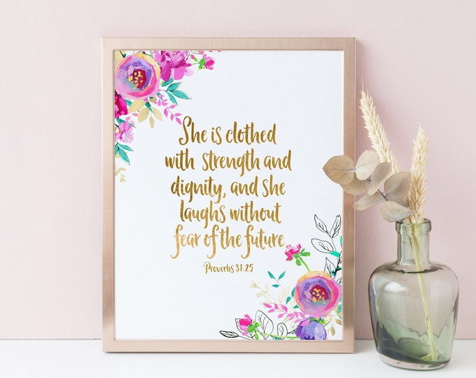 Proverbs 31 25, She is Clothed in Strength and Dignity Scripture Prints, Mint Purple