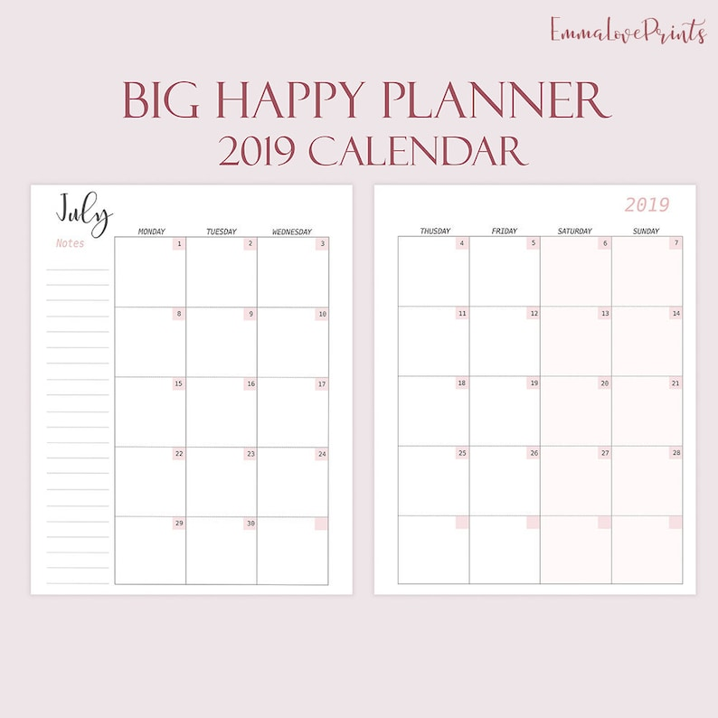Monthly Refills Made to fit Big Happy Planner Printable 2019 Calendar 2019  monthly planner 2019 Dated Planner Inserts 2019