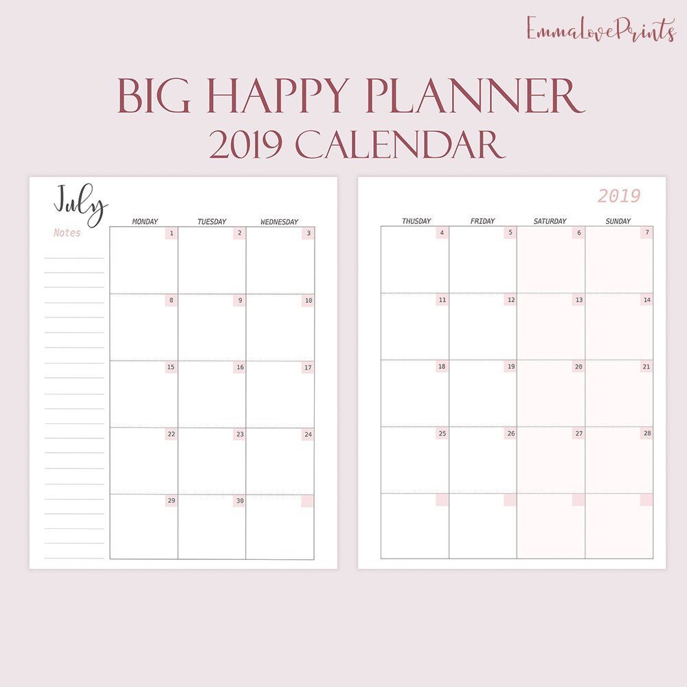 Monthly Refills Made To Fit Big Happy Planner Printable 2019