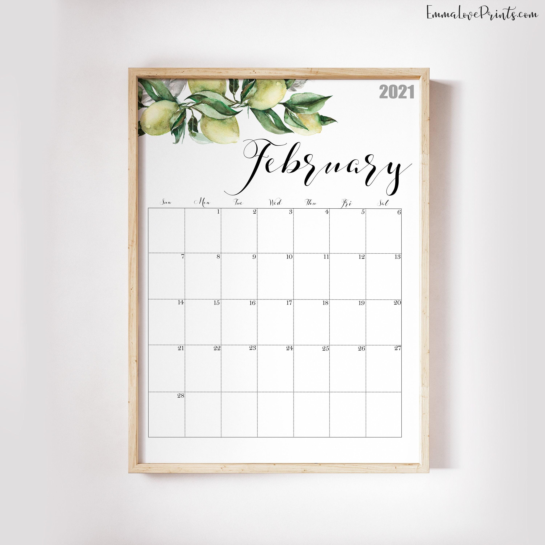 2021 Calendar, Watercolour Calendar 2021, Botanical Wall ...