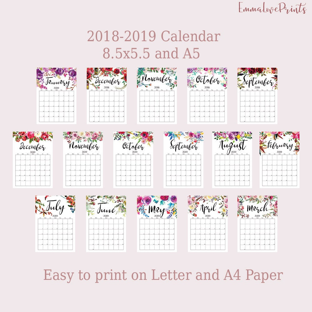 A5 Planner Inserts Printable Calendar 2018 2019 Monthly Planner Wall