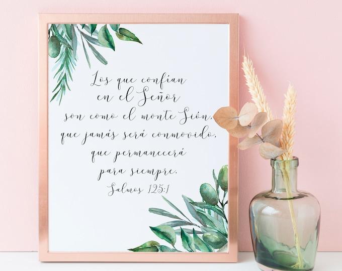 Spanish Bible Verse Print Bible Quote Print, Psalm 125 1, Bible Verse Prints, Christian Wall art, OL-1