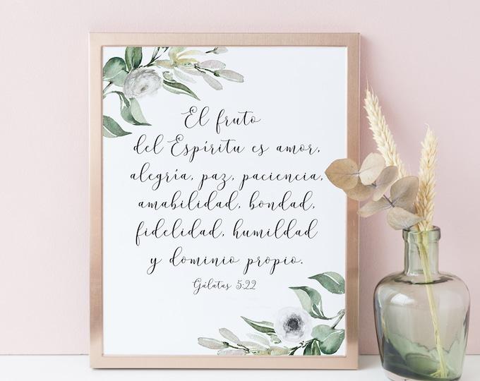 Bible Verse Print, Spanish Print, The Fruit of the Spirit is love, Galatians 5 22 OL-1