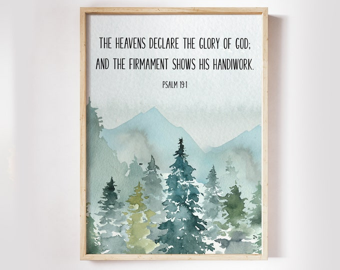 Bible Verse Prints, Psalm 19 1, Christian Wall art, Printable Bible Quote Print, The heavens declare the glory of God