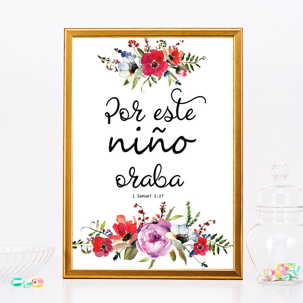 Nursery Decor Nursery Wall Art Spanish Bible Verse Wall Art