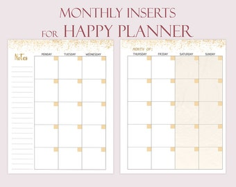 Happy Planner Inserts Printable Monthly Insert Monthly Refill for Mambi Happy Planner