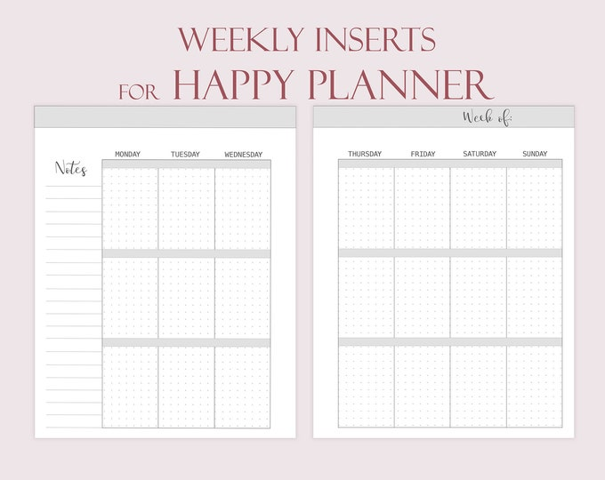 Weekly Planner Pages, Happy Planner Inserts Printable, Dotted Journal, Weekly Agenda