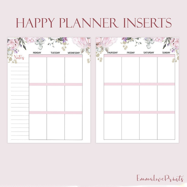 Weekly Insert Made to Fit Happy Planner Printable Inserts image 0