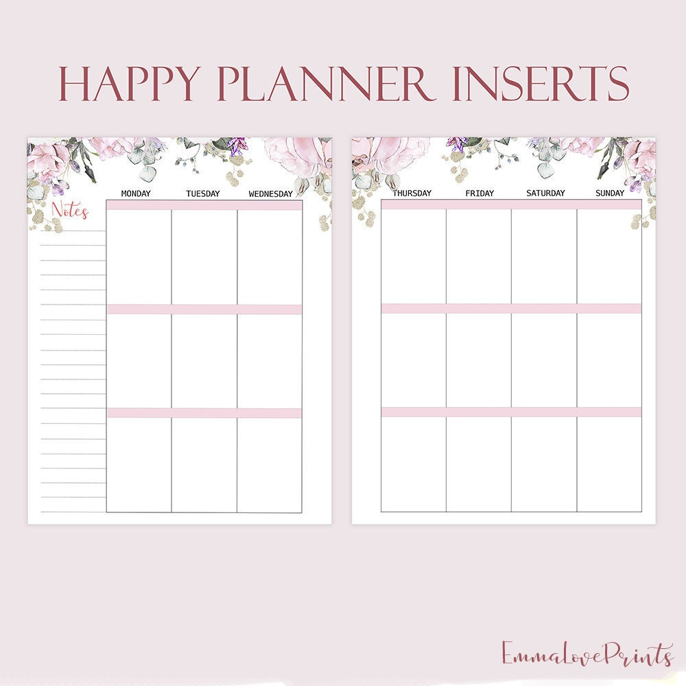 picture regarding Happy Planner Printable Inserts identified as Weekly Incorporate Built in the direction of Match Satisfied Planner Printable Inserts