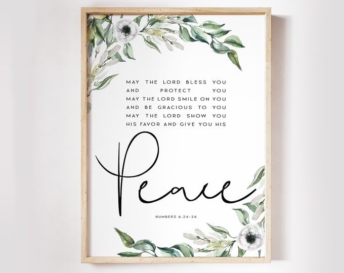 Numbers 6 24 26, May the Lord bless you, Bible Verse Prints, Scripture Prints, Botanical Prints OL-1
