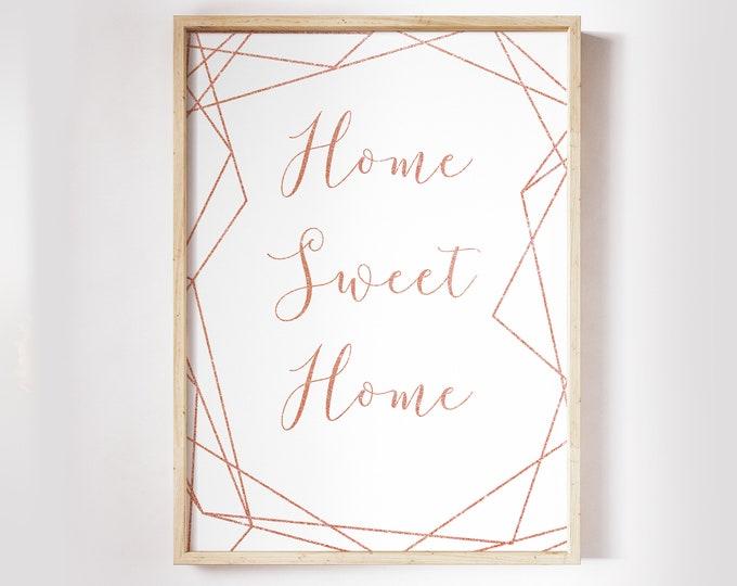 Copper Wall Art Home Sweet Home Decor Rose Gold Decor Geometric Wall Art Housewarming Gift Bedroom Decor Scandinavian Print Printable Art