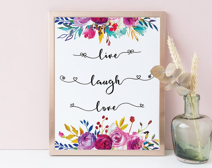 Live Love Laugh Wall Decor Bedroom Decor Love Wall Art Printable Floral Wall Decor Love Quote