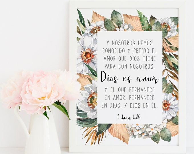 Spanish Bible Verse Prints, 1 John 4 16, Africa art print, God is love, Spanish Wall Art. SA-1