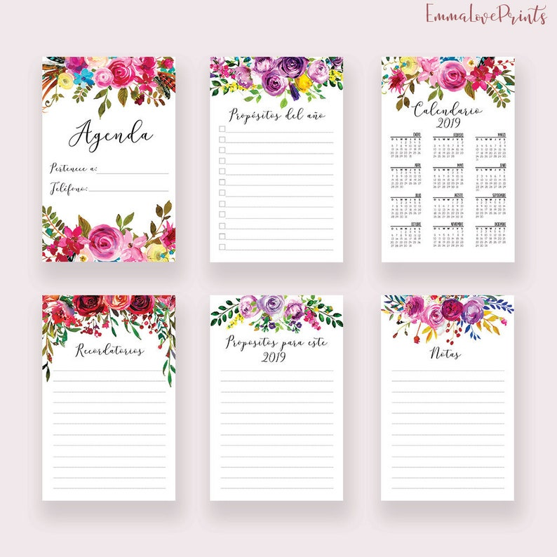 Calendario Planner.Planner Inserts Printable Calendario 2019 Calendar 2019 Monthly Planner 2019 Wall Calendar 2019 Agenda 2019 Planner Floral Spanish Printable