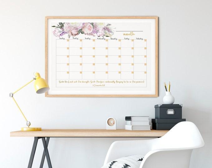 Large Wall Calendar 2021, Memo Board Printable, Botanical calendar, Rose Gold Calendar  RG-1