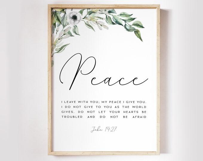 Bible Verse Prints, John 14 27, NIV Peace I leave with you, Scripture Prints Botanical Print OL-1