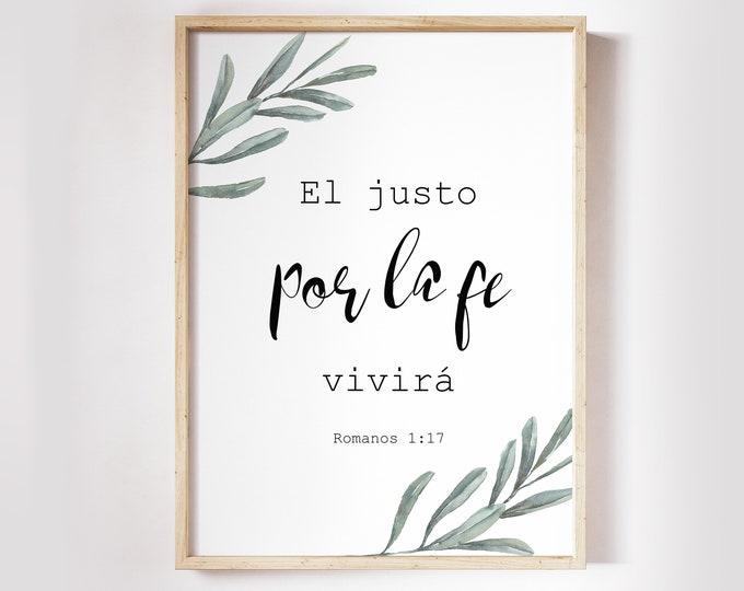 Bible Verse Prints, Spanish Print, Romans 1:17, Spanish Bible Verse OL-1