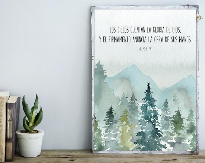 Spanish Bible Verse Print Bible Quote Print, Psalm 19 1, Bible Verse Prints, Christian Wall art