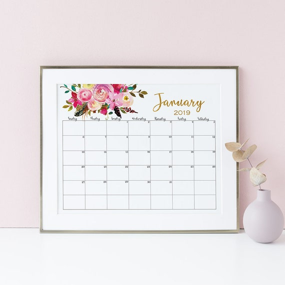 Wall Calendar 2019 Boho Printable Calendar Floral Watercolor Etsy