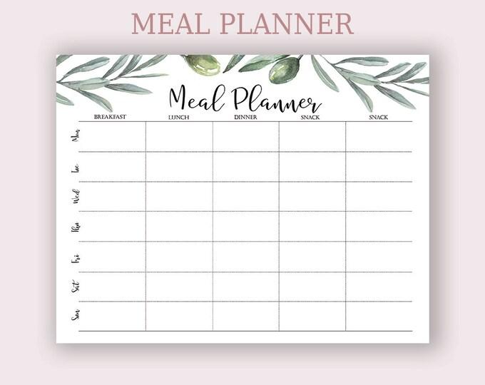 Menu Plan, Boho Planner, Olive Wreath Printable, Letter Size Planner.